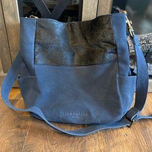 Liebeskind Berlin Hobo Bucket Bag Calf Hair Blue